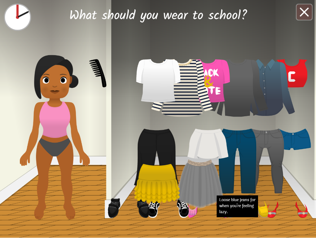 Choosing what to wear to school